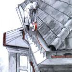Монтаж системы антиоблединения крыши и водостоков